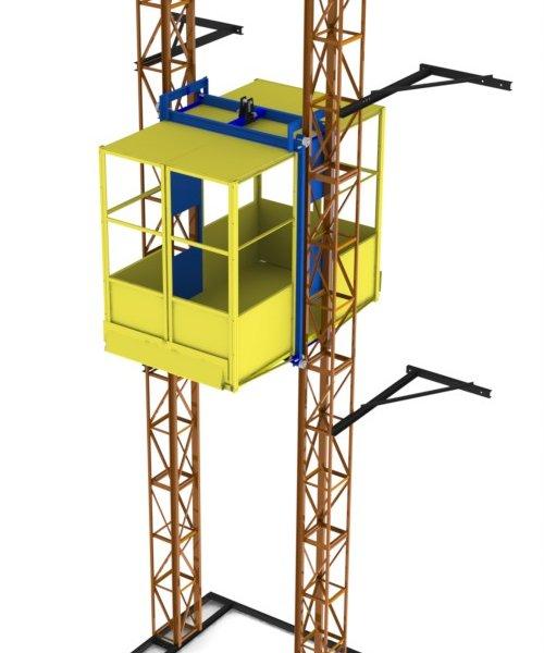 Двухмачтовый подъемник - г/п 2000 кг. Кабина 2м х 1,5м х 2м