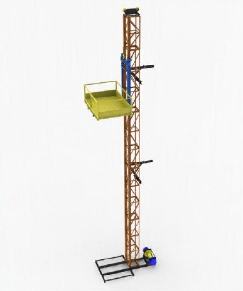 Одномачтовый подъемник - г/п 250 кг. Платформа 1м х 2м, высота ограждения 1м.